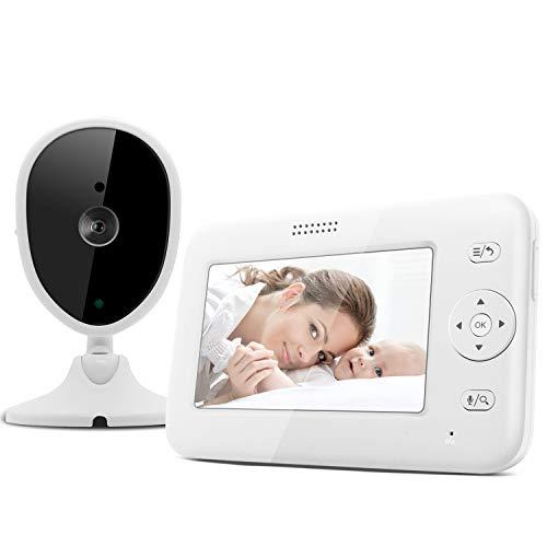 Bable Babyphone mit Kamera, 4.3 Zoll Video Babyphone mit Nachtsicht, Schallerkennung, Gegensprechfunktion, Temperaturüberwachung, Lange Akkulaufzeit, Schlaflied mit einstellbarer Lautstärke