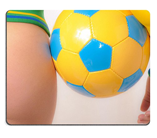 MSD Natural Rubber Gaming Mousepad IMAGE ID: 8264861 Beautiful Brazilian model wearing a green and yellow soccer thong bikini bottom holding a soccer ball isolated over white background
