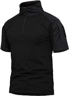 Labeyzon Men's Outdoor Military Tactical Shirt, Long Sleeve Combat Shirt with 1/4 Zipper