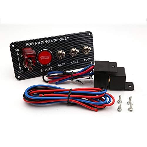 Gaosheng Zündschalter Panel Start Taster 12V LED Kohlefaser Kippschalter Panel Universell für 12V 12V / 20A Panel Rennwagen
