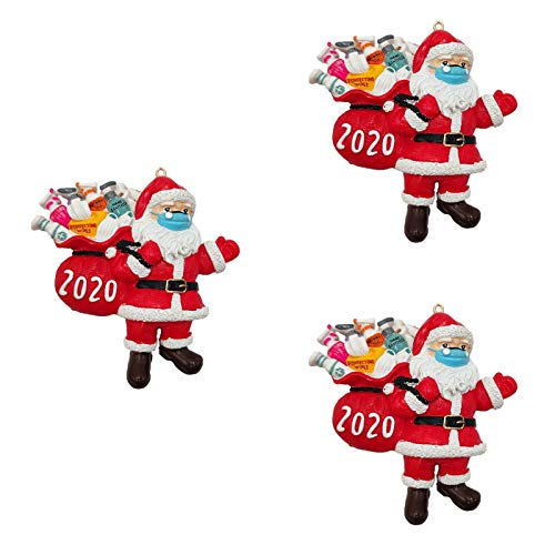 MaikcQ Christmas Ornaments 2020, Santa Claus Ornaments with Face Mask, Unique Luxury Christmas Tree Decorations, Winter Hanging Pendant Quarantine Keepsake for Xmas Home Decor(3pcs)