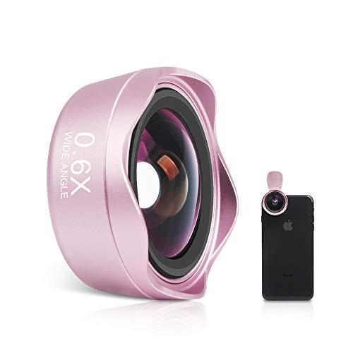 スマホレンズ スマホ用カメラレンズ 広角レンズ マクロレンズ クリップ式レンズ iphone android タブレットなど対応 高画質 簡単装着 歪みなし 携帯レンズ 自撮りレンズ 交換レンズ可 2in1 (ローズゴールド)