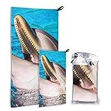 N\A Jumping Happy Excited Dolphin 2 Pack Microfibra Toalla Deportiva al Aire Libre Toallas de Playa para Mujeres Set de Secado rápido Lo Mejor para Viajar en el Gimnasio Mochilero Yoga Fitnes