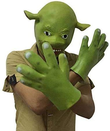 Halloween Scary Mask, Shrek Cosplay Mask with Green Hand Gloves, Party Costume Latex Horror Scary Character Cosplay Dress Up Mask for Masquerade Prop Christmas Bar Party