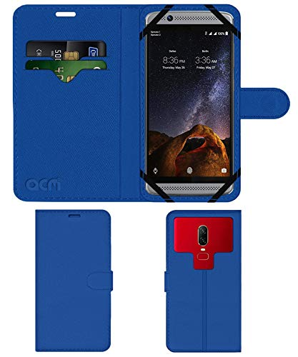 Acm Strap Leather Flip Case Compatible with Zte Axon 7 Mini Mobile Front & Back Cover Blue