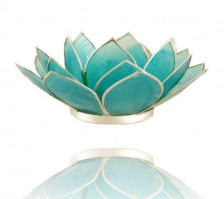 Trimontium TL12005S Teelichthalter in Form Einer dreiblättrigen Lotusblüte, Durchmesser Circa 14 cm, Capiz-Muschel, Info, Aluminium, Türkis, ca. 14 x 14 x 5 cm