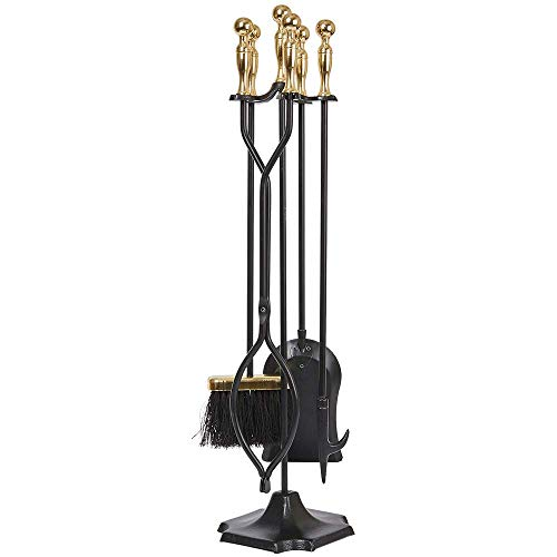 Amagabeli 5 Pcs Large Fireplace Tools Sets Golden Handle Wrought Iron Tool Set and Holder Outdoor Fireset Fire Pit Stand Indoor Tongs Shovel Antique Brush Chimney Poker Wood Stove Hearth Accessories