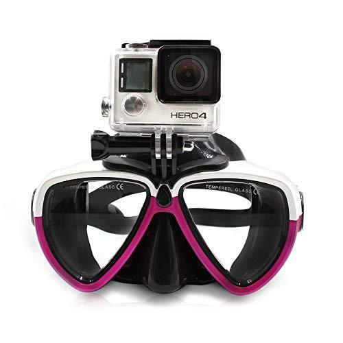 TELESIN Vetro da immersione in silicone con maschera di immersione a scomparsa Maschera da immersione da nuoto per videocamera sportiva GoPro HD Hero 2 3 3+ 4,4 Session,5 Session,5 Black(Bianco Rosso)
