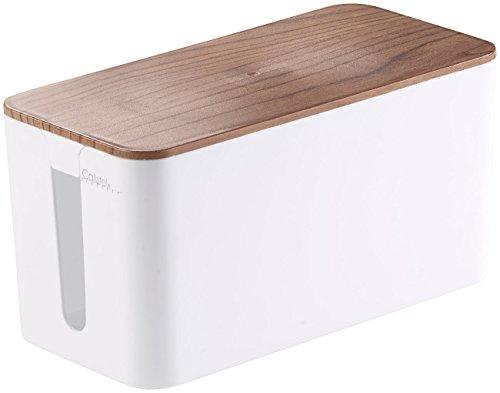 Callstel Kabelkiste: Kabelbox klein, 23 x 11,5 x 12 cm, Nussbaum-Holzoptik mit Gummifüßen (Kabelsammler)