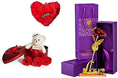 Zukunft Fashion Valentine Gift for Wife Husband Girlfriend Boyfriend Girls Boys - Valentines Special Artificial Red Rose with Gloden Love Stand Teddy and Heart Shape Cushion Pillow Gift Set