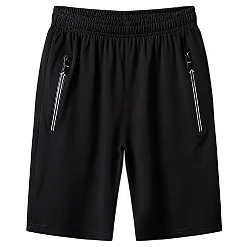 CHYU Herren Sport Joggen und Training Shorts Fitness Kurze Hose Jogging Hose Bermuda Reißverschlusstasch (M, Black)