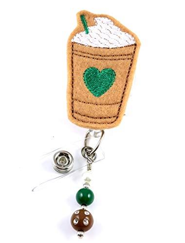Iced Coffee with Heart - Nurse Badge Reel - Retractable ID Badge Holder - Nurse Badge - Badge Clip - Badge Reels - Pediatric - RN - Name Badge Holder