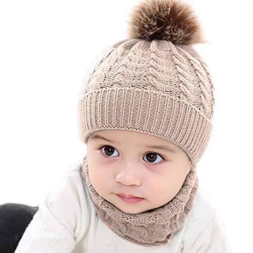 CheChury Bébé Bonnets et écharpes en Tricot Fille Hiver Pompom Tricotés Bonnet Bébé 0-24 Mois...