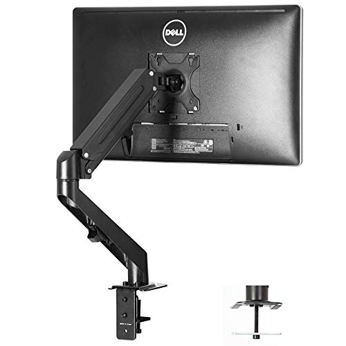 Single Monitor Desk Mount - Height Adjustable Single Monitor Stand Articulating Full Motion Swivel VESA Arm Fits for Computer Screen 17 to 27 inches…