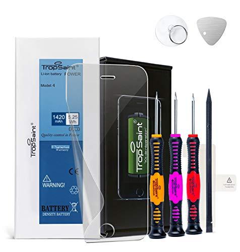 Trop Saint® Batería Interna Compatible con iPhone 4 - (1420mAh/3,8V) Repuesto Incluye Instrumentos, Film Protector Pantalla y Pegatinas Adhesivas