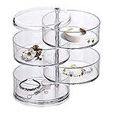 Organizzatore di gioielli, portagioielli con 4 scomparti girevoli, per donne, portagioie girevole a 360 gradi.
