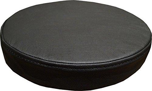 Quattro Meble Zitkussen, rond, zwart, echt leer, zitkussen, voor barstoel, barkruk, stoel, bank, dubbel genaaid, echt leer, kussen, zitting, bekleding Durchmesser 38cm Zwart - Hermes Nero