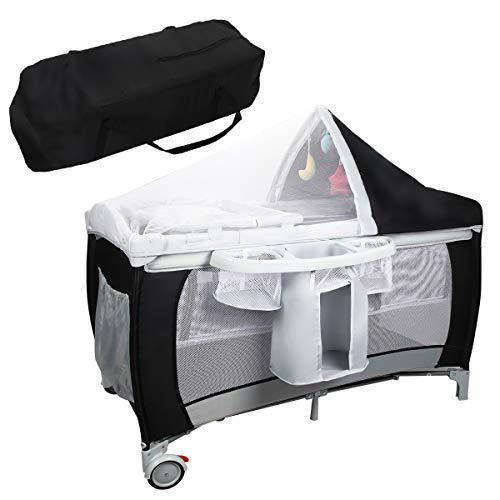 RELAX4LIFE 4 in 1 Babyreisebett, klappbares Kinderreisebett mit Tragetasche & Matratze & Spielbogen & Moskitonetz, Reisebett mit Musikfunktion für Baby 0-36 Monaten, belastbar bis 15 kg (Schwarz)