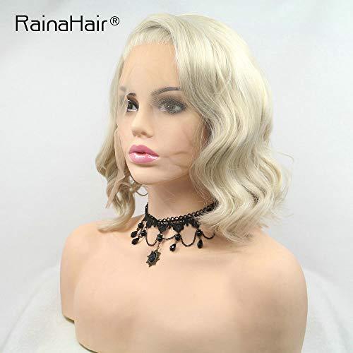 RainaHair 14inch Korte Golvend Pruik Hittebestendige Zijdeel Pastel Blonde Kant Voor Pruiken voor Vrouwen Bob Mode Nieuwe Kapsel Half Hand Gebonden Party Drag Queen