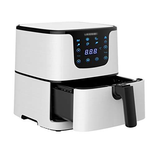 Friggitrici Elettrica Oil-Free Aria Calda 5,5 Litri con 8 Programmi LED Touch Screen E Pulsanti per Cotture Salutari E Oil-Free (Color : Bianca, Size : 30 * 36 * 32cm)