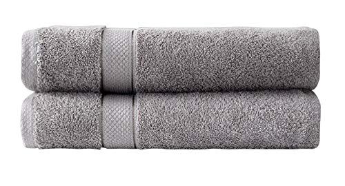 Sevval Juego de toallas | resistentes a la decoloración | 2 toallas de baño | gris | 100% algodón 500 g/m² | 70 x 140 cm | 2 unidades