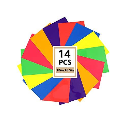 "Heat Transfer HTV Vinyl,12"" x 16.5"" HTV Vinyl Rolls, Fluorescent Color,for Decor Sticker, Weeding Machine, Craft Cutter Machine, Printers, Letters, Car Decal, Vinyl Paper (Color Mixing)"