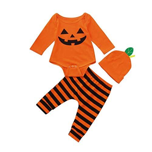 Jimmackey- Bambino 3pcs Infantile Natale/Halloween Completini, Neonato Unisex Pagliaccetto Body Tutine + Striscia Pantaloni 3D Cappello Costume