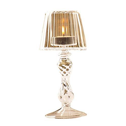 Surenhap Kerzenhalter Tischlampe Glas Metall Vintage Teelicht Kristall Antiken Stil für Café Hause Deko
