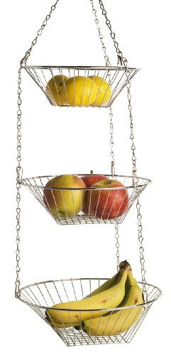 Home Basics Kitchen 3 Tier Wire Detachable Customizable Round Hanging Fruit Baskets  Heavy Duty Space Saving Chrome Finish