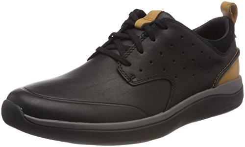 Clarks Garratt Lace, Zapatos de Cordones Derby para Hombre, Negro (Black Leather-), 46 EU