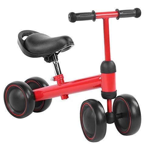Raguso Bicicleta para niños de Altura Ajustable de 4 Ruedas para niños, Juguetes para niños, Regalo para Fiestas Familiares, Vacaciones(Red)