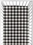 Sweet Jojo Designs Black and White Buffalo Plaid Boy Fitted Crib Sheet Baby or Toddler Bed Nursery - Woodland Rustic Country Farmhouse Check Deer Lumberjack
