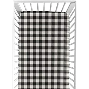 Sweet Jojo Designs Black and White Buffalo Plaid Boy Fitted Crib Sheet Baby or Toddler Bed Nursery – Woodland Rustic Country Farmhouse Check Deer Lumberjack