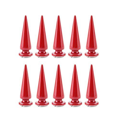 Zerodis Remaches de púas, espigas de árbol de espigas de Cono para decoración de Manualidades de Bricolaje(Red)