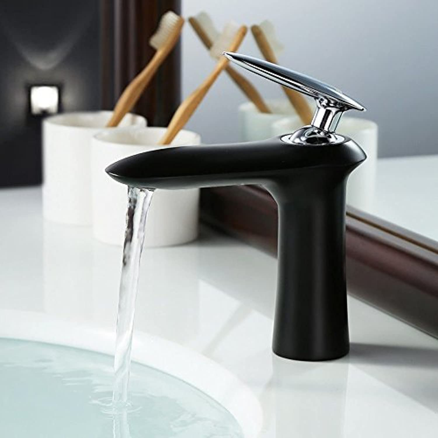 Hlluya Professional Sink Mixer Tap Kitchen Faucet Basin taps full copper hot and cold black
