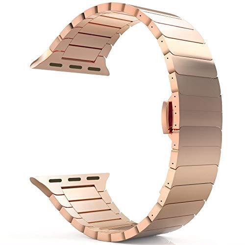 LIANYG Correa De Reloj Banda de Reloj de Correa de Acero Inoxidable 44mm 40 mm 42mm / 38mm Pulsera de Metal 493 (Band Color : Rose Gold, Band Width : 42mm or 44mm)