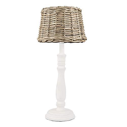 Tischlampe HAMPTONS weiß braun mit Rattanlampenschirm Long Island E14