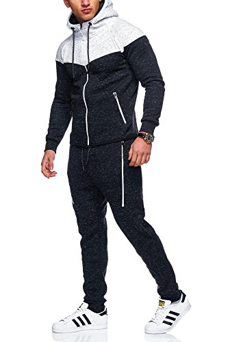 MT Styles Herren Trainingsanzug 2-Colour Jogginganzug Sportanzug R-971 [Schwarz, L]