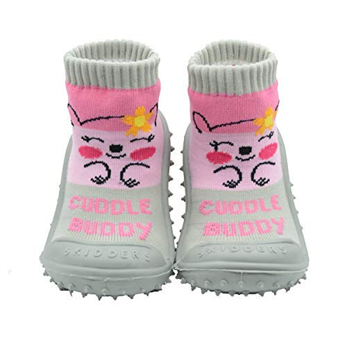 SKIDDERS Baby Toddler Girls Grip with Rubber Soles Non-Slip Flexible Shoes Cuddle Buddy Style (2)