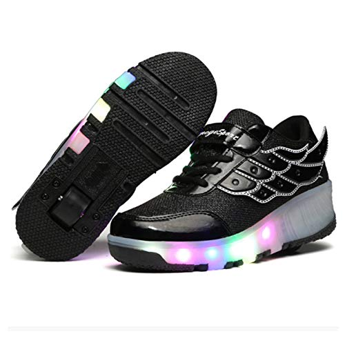 WOFEI Led Luces Zapatos con Ruedas Dobles para Pequeños Niños Y Niña Automática Calzado De Skateboarding Deportes De Exterior Patines Zapatos,36