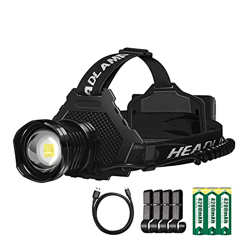 N'S Headlamp, Rechargeable Headlamp, Upgraded Superpower, Waterproof USB XHP70 Headlamps,10000 Lumens 7 Models,18650 Batteries x 3, Perfect for Climbing, Fishing, Camping