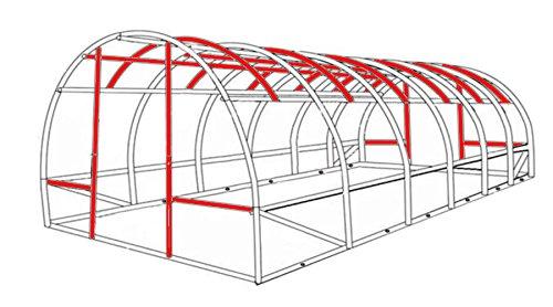Gewächshaus 18m² mit Stahlfundament Treibhaus Tomatenhaus Pflanzenhaus Foliengewächshaus 3x6m