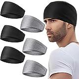 6 Stücke Herren Stirnbänder 13 cm Breite Dehnbare Schweißbänder Übung Kopfwickel Rutschfestes Kopfband für Männer Frauen Yoga Laufen Radfahren Sport Fitnessstudio (Schwarz, Grau)