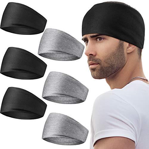 6 Stücke Herren Sport Stirnbänder 13 cm Breite Elastisch Schweißbänder Übung Kopfwickel Rutschfestes Kopfband für Männer Frauen Yoga Laufen Radfahren Sport Fitnessstudio (Schwarz, Grau)
