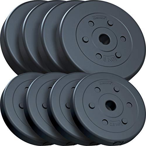 ScSPORTS® 30 kg Hantelscheiben-Set, Kunststoff, 4 x 5 kg, 4 x 2,5 kg, Gewichte, 30/31 mm Bohrung, durch Intertek geprüft + bestanden (1)