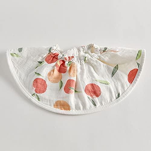 HVKLHNF Toalla de Gasa de algodón para bebé, Babero de Fibra de bambú, Bolsillo elástico, Giratorio de 360 Grados con Flores, Babero(Color:Apple)