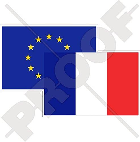 Européenne union-france Drapeau Paire, eu-fr europe-french 12,7 cm (125 mm) Bumper Sticker en vinyle, en