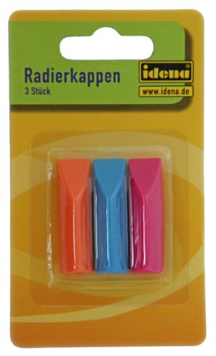 Idena 522227 - Radierkappen, 3er Pack, für Standart - Bleistifte,  Farblich Sortiert