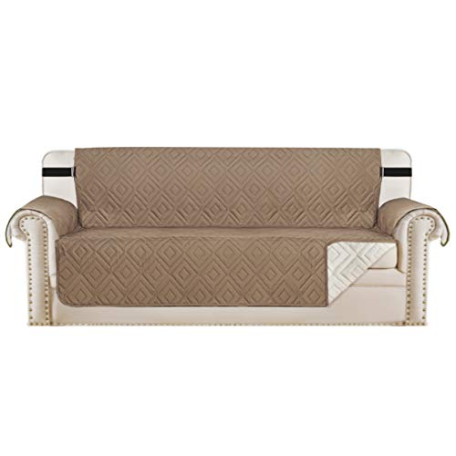 """Reversible Sofa Slipcover Furniture Protector Water Resistant 2 Inch Wide Elastic Straps Sofa Cover Couch Covers Pets Kids Fit Sitting Width Up to 66"""" (Sofa, Taupe / Beige)"""