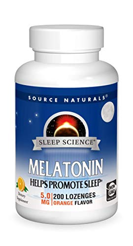 Source Naturals Sleep Science Melatonin 5 mg Orange Flavor - Helps Promote Sleep - 200 Lozenge Tablets